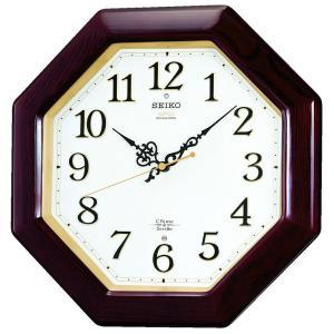 SEIKO CLOCK(セイコークロック) 掛け時計 電波 アナログ 報時選択式 チャイム&ストライク 八角型 木枠 茶 木地 RX210B|新品|audio-mania