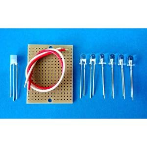 CRD 2素子入りの定電流ダイオード(18mA×2)カソードコモン+白色LED×6個キット LED教材 ハンダ付け要|audioq