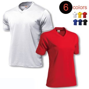 Vネックの半袖ドライTシャツ。表はツルっとしたなめらかな生地で肌面がメッシュになってます。サッカー・...