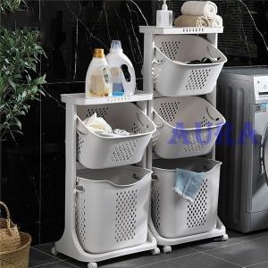 ランドリーバスケット ランドリーワゴン 2段 洗濯かご キャスター付き スリム 隙間収納 手提げ式箱 取り外し 多機能 バスルーム 収納便利|auratrade
