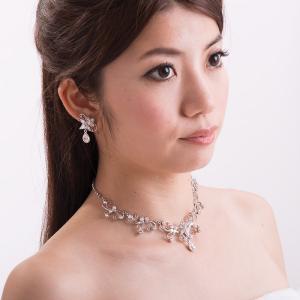 ネックレスイヤリングセット 1947 化粧箱付 日本製ブライダルアクセサリー 結婚式 花嫁 ウェディング パーティー スワロフスキー|auro