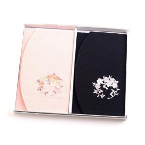 ちりめん桜刺繍ふくさ 2枚セット 紙箱入 慶弔両用袱紗 結婚式 冠婚葬祭 男性用 女性用 日本製