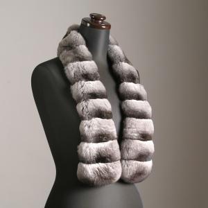 即納在庫品チンチラファーマフラー ナチュラルカラー 毛皮、ファーのALFURNO|auro