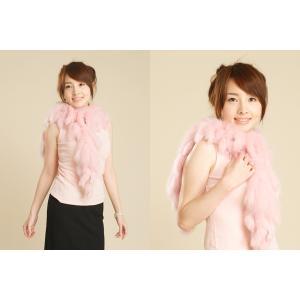 フォックスフリンジマフラー(ピンク) 毛皮、ファーのALFURNO|auro