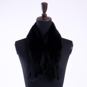 プラックドパーミーファーマフラー ブラック 毛皮マフラー|auro
