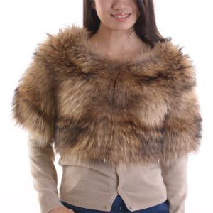 チャイナラクーンファーボレロ 毛皮ジャケット ナチュラル|auro