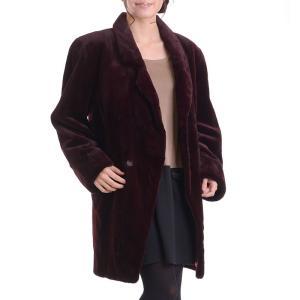 日本製シェアードミンクコート 着丈85ボルドー|auro