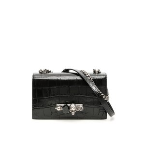 ALEXANDER MCQUEEN アレキサンダーマックイーン ショルダーバッグ ブラック Jewelled Satchel Bag|aurora-and-oasis