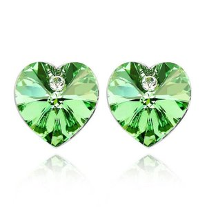 ピアス スワロフスキー ハートグリーン Green White Gold Plated Green Heart Stud Earring Made With Swarovski Crystal XE26|aurora-and-oasis
