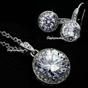 ジュエリーセット スワロフスキー ラウンドドロップクリア Clear White Gold Filled Round Drop Diamond Bridal Set Made With Swarovski Crystal XS20|aurora-and-oasis