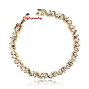 ブレスレット スワロフスキー ローズゴールドクリア Clear Rose Gold Filled Clear Diamond Tennis Bracelet Made With Swarovski Crystal T9|aurora-and-oasis