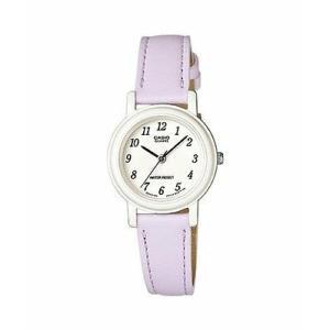 腕時計 カシオ レディース Casio Womens Light Purple Leather Analog Easy to Read White Dial Watch LQ139L-6B|aurora-and-oasis
