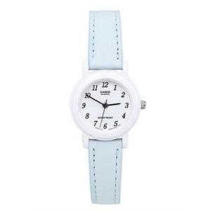腕時計 カシオ レディース Casio Ladies' Analog Casual White Case Light Blue Leather Strap Watch LQ139L2B|aurora-and-oasis