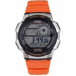 腕時計 カシオ メンズ Casio Men's Digital 10-Yr Battery World Time Orange Resin Watch AE1000W-4BV|aurora-and-oasis
