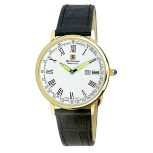 腕時計 シュタインハウゼン メンズ Steinhausen Men's Altdorf Gold Tone Stainless Steel Black Leather Watch S0123|aurora-and-oasis