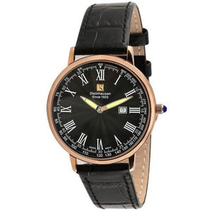 腕時計 シュタインハウゼン メンズ Steinhausen Men's Swiss Quartz Rose Gold Tone S. Steel Black Leather Watch S0120|aurora-and-oasis