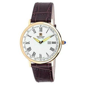 腕時計 シュタインハウゼン メンズ Steinhausen Men's Altdorf Swiss Quartz Stainless Steel Leather Watch|aurora-and-oasis
