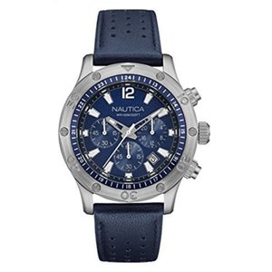 腕時計 ノーティカ メンズ Nautica Men's Chronograph Quartz Stainless Steel Blue Leather Watch NAD16547G|aurora-and-oasis