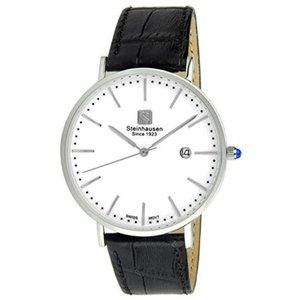 腕時計 シュタインハウゼン メンズ Steinhausen Men's Burgdorf Quartz Stainless Steel Black Leather Watch S0518|aurora-and-oasis