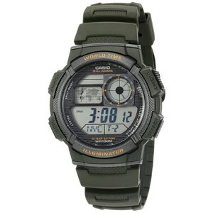 腕時計 カシオ メンズ Casio Men's World Time 100m 10-Yr Battery Life Green Resin Watch AE1000W-3AV|aurora-and-oasis