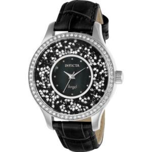 腕時計 インヴィクタ インビクタ レディース Invicta Women's Angel Quartz 3 Hand Black Dial Watch 24592 aurora-and-oasis