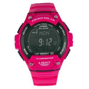 腕時計 カシオ レディース Casio Women's Tough Solar Digital 100m Pink Resin Watch WS220C-4BV aurora-and-oasis