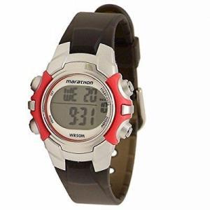 腕時計 タイメックス レディース Timex Women's Marathon 50m Digital Display Night Light Black Resin Watch T5K807 aurora-and-oasis