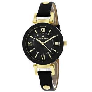 腕時計 クリスチャンヴァンサント レディース Christian Van Sant Women's Petite Stainless Steel/Black Leather Watch CV8162 aurora-and-oasis