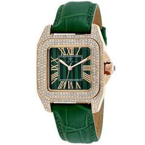 腕時計 クリスチャンヴァンサント レディース Christian Van Sant Women's Radieuse Rose Gold Brass/Green Leather Watch CV4424 aurora-and-oasis