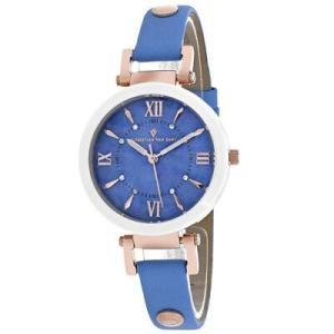 腕時計 クリスチャンヴァンサント レディース Christian Van Sant Women's Petite Stainless Steel/Blue Leather Watch CV8165 aurora-and-oasis