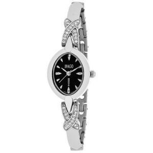 腕時計 ジバゴ レディース Jivago Women's Via Quartz Crystal Accent Black Dial Stainless Steel Watch JV3610 aurora-and-oasis