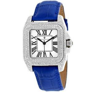 腕時計 クリスチャンヴァンサント レディース Christian Van Sant Women's Radieuse Silver Tone Brass/Blue Leather Watch CV4422 aurora-and-oasis