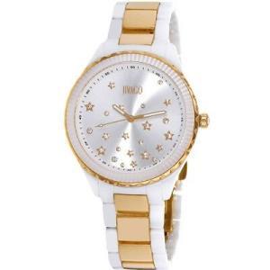 腕時計 ジバゴ レディース Jivago Women's Sky Quartz Gold Tone Stainless Steel/White Ceramic Watch JV2416 aurora-and-oasis