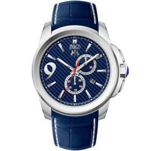 腕時計 ジバゴ メンズ Jivago Men's Gliese Chrono 100m Stainless Steel/Blue Leather Watch JV1518 aurora-and-oasis