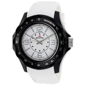 腕時計 シープロ メンズ Seapro Men's Dynamic Analog Quartz Black Plastic/White Silicone Watch SP4112|aurora-and-oasis