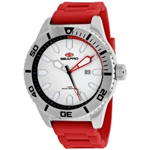 腕時計 シープロ メンズ Seapro Men's Brigade Quartz 100m Stainless Steel/Red Silicone Watch SP1314|aurora-and-oasis