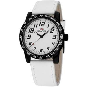 腕時計 シープロ レディース Seapro Women's Bold Quartz Black Alloy/White Leather Watch SP5213|aurora-and-oasis