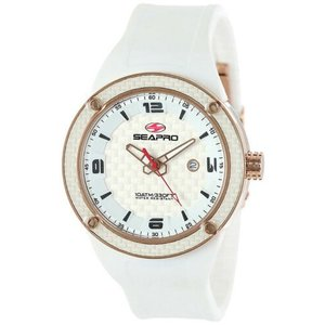 腕時計 シープロ メンズ Seapro Men's Driver Quartz 100m Stainless Steel/White Silicone Watch SP2114|aurora-and-oasis