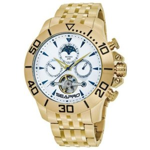 腕時計 シープロ メンズ Seapro Men's Montecillo Auto 200m Chrono Gold Tone Stainless Steel Watch SP5134|aurora-and-oasis
