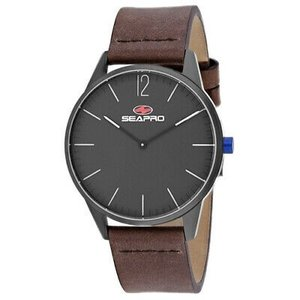 腕時計 シープロ メンズ Seapro Men's Black hole Stainless Steel Leather Watch SP0104|aurora-and-oasis
