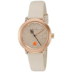 腕時計 ブローバ レディース Bulova Women's Frank Lloyd Wright Stainless Steel/White Leather Watch 98L216 aurora-and-oasis