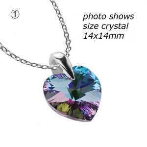 ネックレス スワロフスキー クリスタル ハート Genuine Crystals from Swarovski Heart Crystal Silver Curb Chain Necklace 18