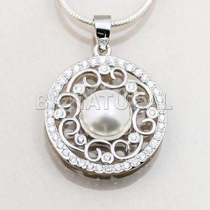ネックレス スワロフスキー クリスタル パール Genuine SwarovskiCrystals PEARL Sterling Silver Pendant Cubic Zirconia Necklace|aurora-and-oasis