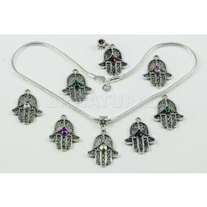 ネックレス スワロフスキー クリスタル Hamsa Hand Symbol Crystal SwarovskiElements Necklace Silver Pated Snake Chain  Multicolour|aurora-and-oasis