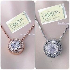 ネックレス スワロフスキー ラウンドクリア Genuine Swarovski Crystals White Rose Gold Plated Pendant Necklace Mum Wife Gift|aurora-and-oasis