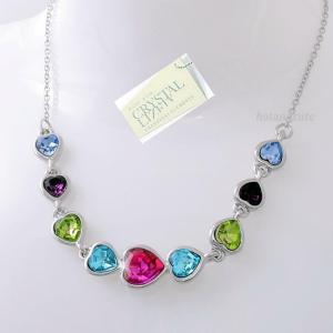ネックレス スワロフスキー ハートカラフル Genuine Heart Swarovski Crystals 18k White Gold Plated Silver Necklace New n Box|aurora-and-oasis