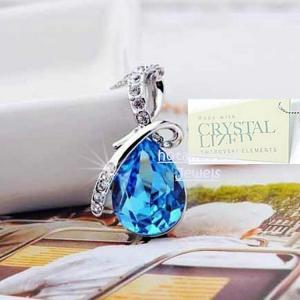 ネックレス スワロフスキー ティアドロップアクアマリン SWAROVSKI CRYSTAL Turquoise Pendant White Gold Plated Necklace Gift Sister Wife|aurora-and-oasis