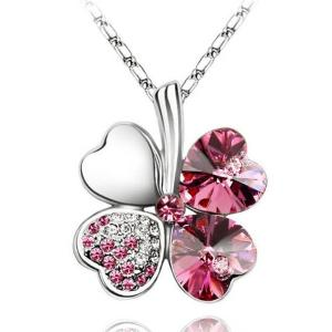 ネックレス スワロフスキー クローバーピンク Pink White Gold Plate Pink Four Leaf Clover Necklace Made With Swarovski Crystal N286|aurora-and-oasis