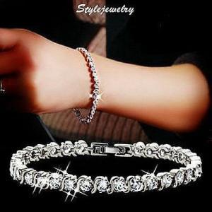 ブレスレット スワロフスキー ホワイトゴールドクリア Clear 18k White Gold Filled Made with Swarovski Crystal Tennis Wedding Bracelet T1|aurora-and-oasis