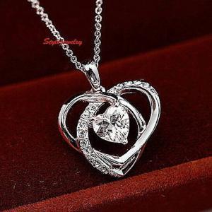 ネックレス スワロフスキー ハートクリア Clear 18k White Gold Filled Love Heart Bridal Necklace Made with Swarovski Crystal N64 aurora-and-oasis